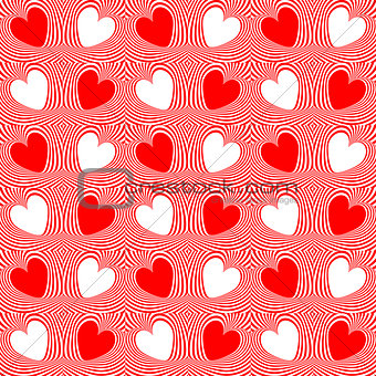 Abstract red hearts and twisted lines background