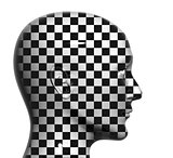 Human head with checkered texture