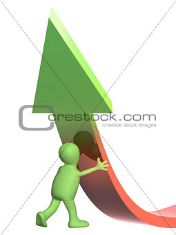 3d puppet, supporting an arrow