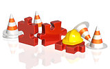 Road cones, part of puzzle and hat