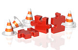 Road cones and part of puzzle
