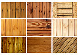 Set textures of old wooden boards