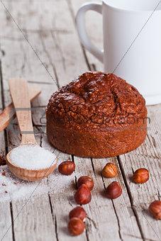 fresh baked brownie cake, milk, sugar, hazelnuts