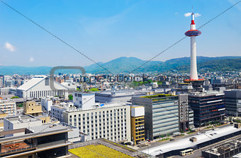 Kyoto, Japan skyline at Kyoto Tower.