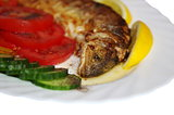 baked  trout on plate