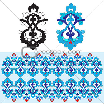 blue oriental ottoman design thirty-one