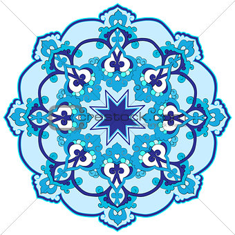 blue oriental ottoman design thirty-two