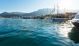 Excursion ships in bay (Greece, Lefkada).