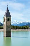 The bell tower in Reschensee (Italy).