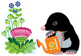 cartoon mole watering flowers