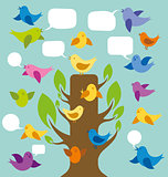 Vector Card With Birds And Tree