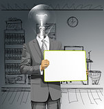 Vector Lamp Head Business Man with Empty Write Board