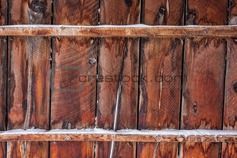 old barn wood with snow