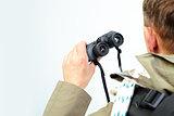 Binoculars in hand