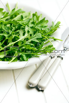 arugula leaves in plate