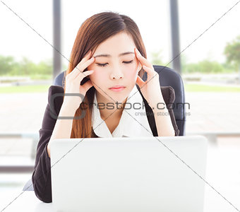 Business woman feel headache and full of painful expression