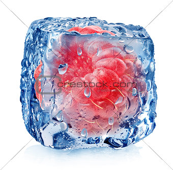 Frozen raspberries isolated