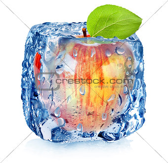Frozen red apple