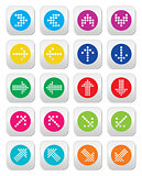 Dotted colorful arrows round icons set isolated on white