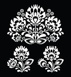 Polish floral folk white embroidery pattern on black background - wzory lowicki