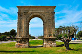 Arc de Bera, an ancient roman triumphal arch in Roda de Bera, Sp