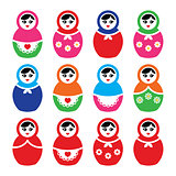 Russian doll, retro babushka vector colorful icons set