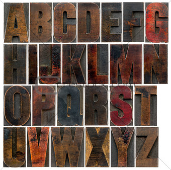 alphabet in old dark wood type