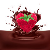 Raspberry heart with chocolate