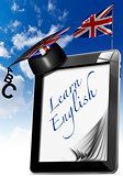 Learn English - Tablet Computer with Graduation Hat