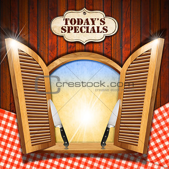 Today's Specials - Menu on Wooden Window
