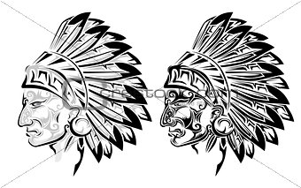 American Indian chief tattoo