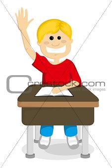 Cartoon schoolboy raising hand