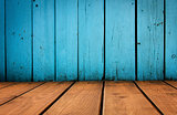 old grunge interior, blue wooden background