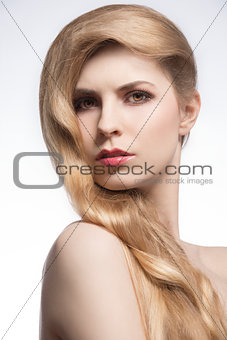 elegant girl with perfect hair-style