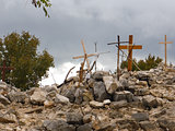 Medjugorje,Bosnia and Herzegovina - crosses on Krievac mountain in Medjugorje on November 4, 2013