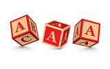 Vector letter A wooden alphabet blocks