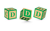 Vector letter D wooden alphabet blocks