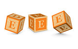 Vector letter E wooden alphabet blocks