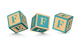 Vector letter F wooden alphabet blocks