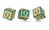 Vector letter Q wooden alphabet blocks