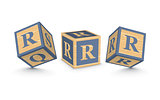 Vector letter R wooden alphabet blocks