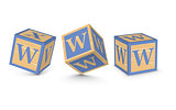 Vector letter W wooden alphabet blocks