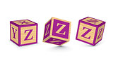 Vector letter Z wooden alphabet blocks