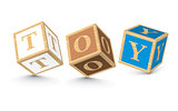 Word TOY written with alphabet blocks