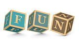 Word FUN written with alphabet blocks