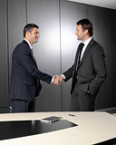 Serious businessmen shaking hands
