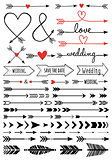 hand-drawn arrows, vector set
