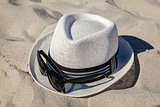 White Straw Fedora with Sunglasses on Beach