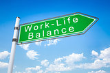 road sign arrow work - life balance