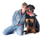 rottweiler and woman